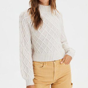 American Eagle Cream Knit Cropped Sweater